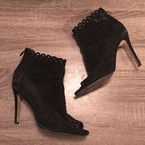 Perforated suede peep toe ankle booties